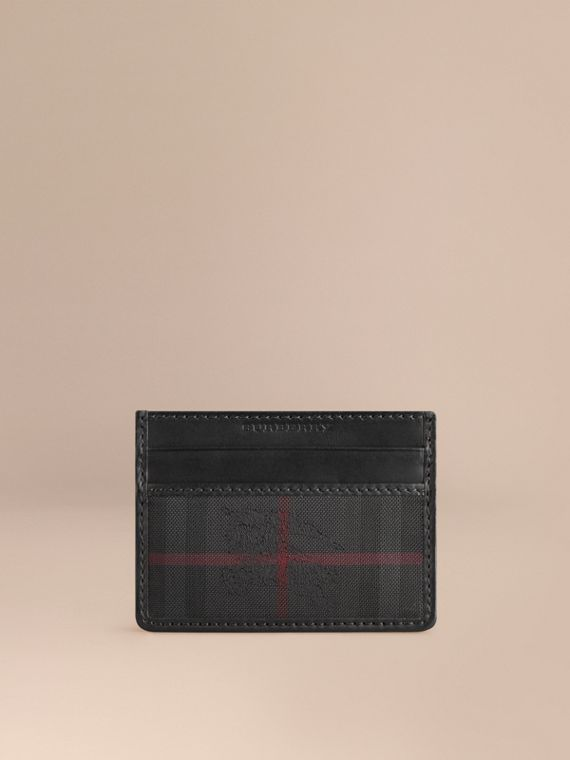 Horseferry Check Card Case in Charcoal/black