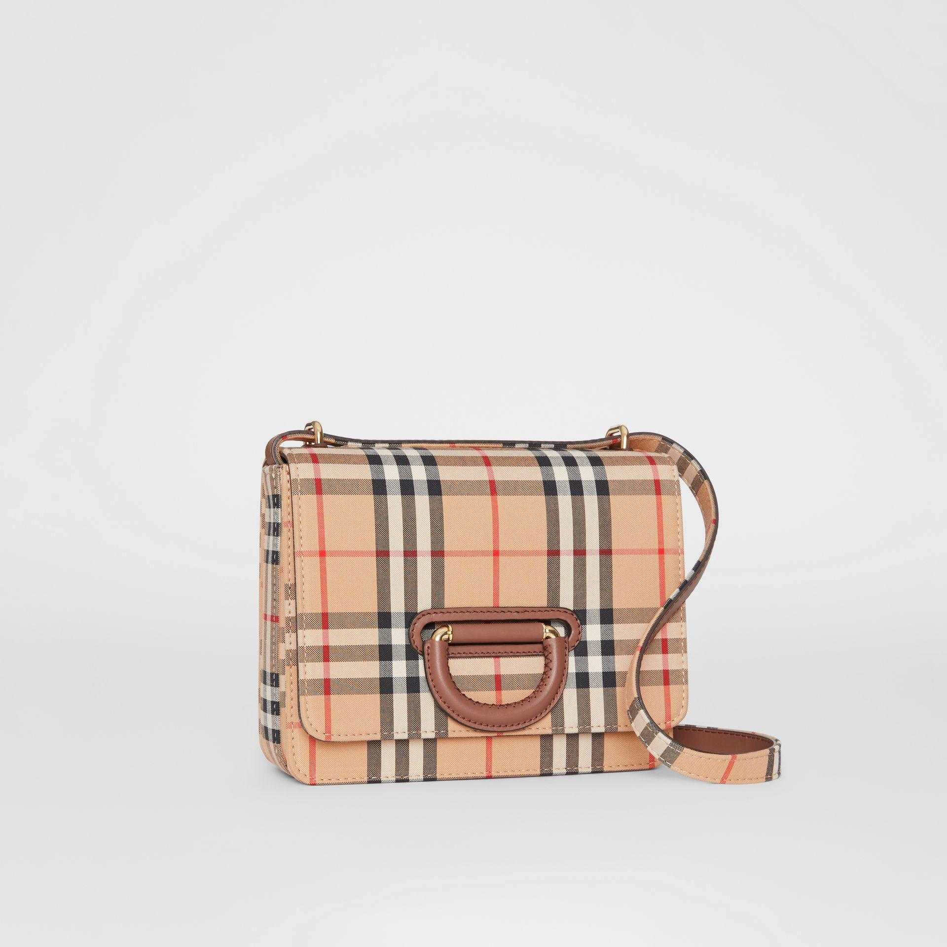 The Small Vintage Check D-ring Bag in Archive Beige - Women | Burberry Australia - gallery image 6