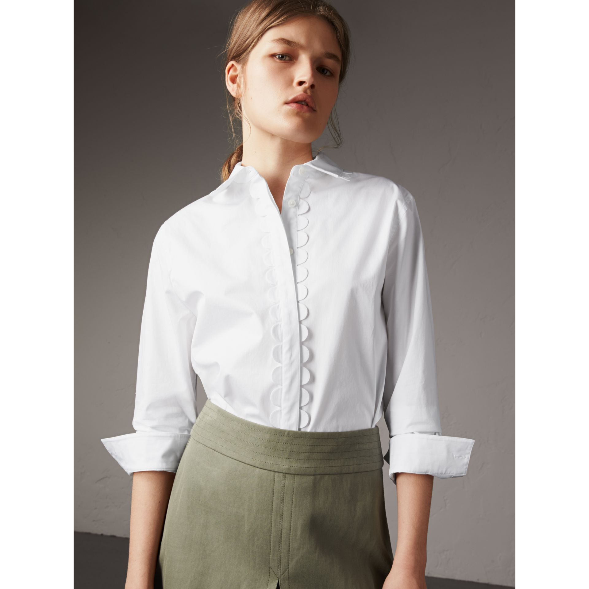 Scalloped Stretch Cotton Shirt - Women | Burberry - gallery image 1