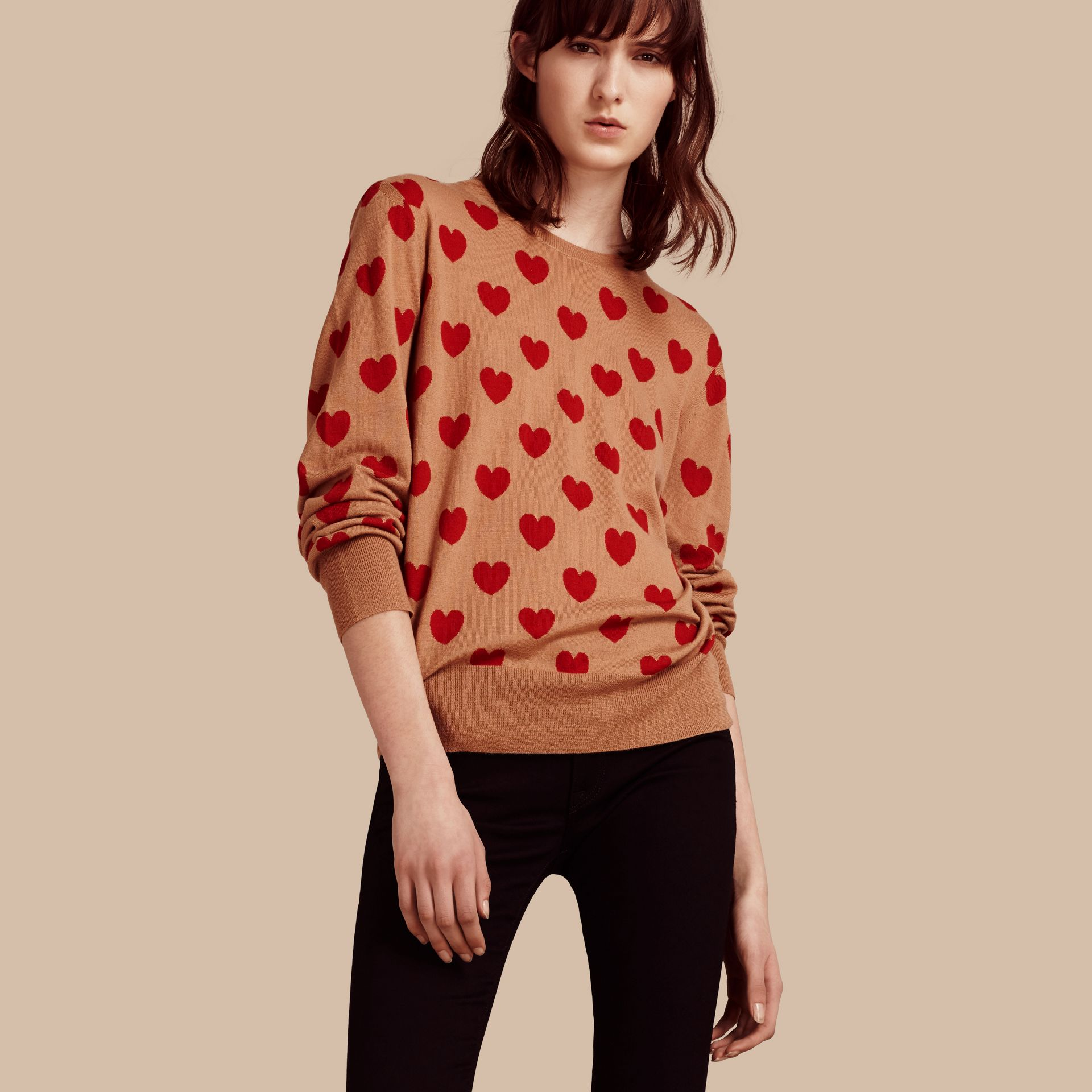 Heart Intarsia Merino Wool Sweater in Camel - Women | Burberry - gallery image 1