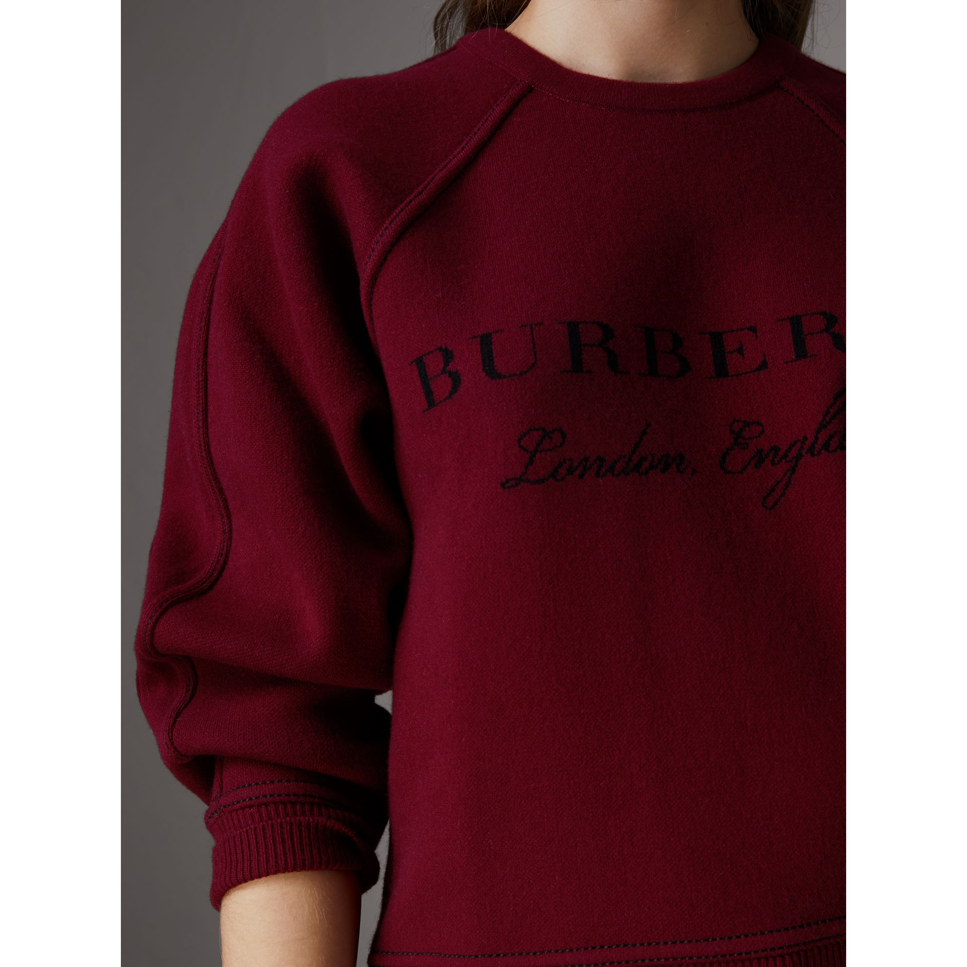 Topstitch Detail Wool Cashmere Blend Sweater in Burgundy - Women | Burberry - gallery image 1