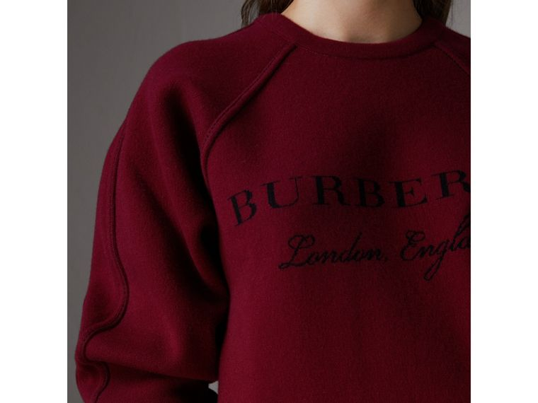 Topstitch Detail Wool Cashmere Blend Sweater in Burgundy - Women | Burberry - cell image 1