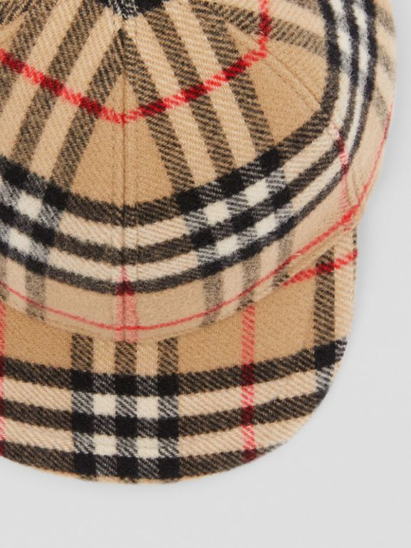 Vintage Check Wool Baseball Cap in Archive Beige - Children | Burberry - cell image 1