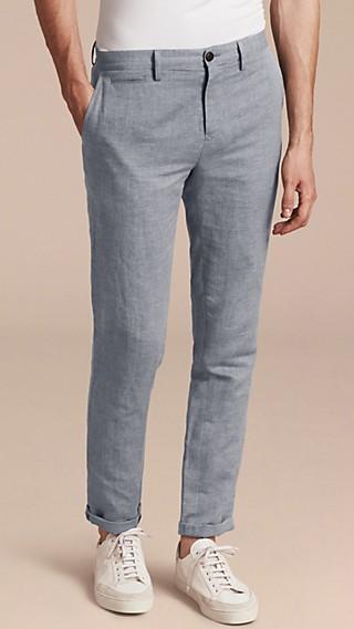 Pantalon chino en lin et coton