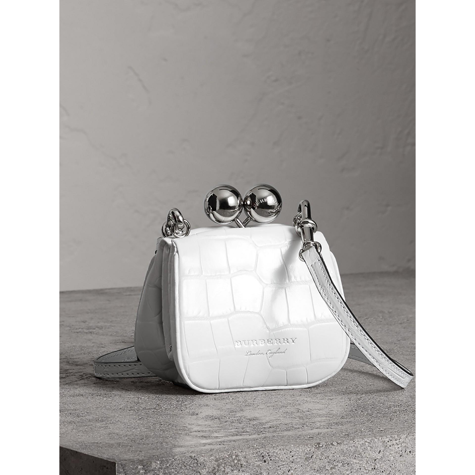 Mini Alligator Frame Bag in White - Women | Burberry United Kingdom - gallery image 7