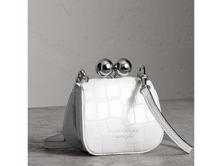 Mini Alligator Metal Frame Clutch Bag in White - Women | Burberry United Kingdom - cell image 4