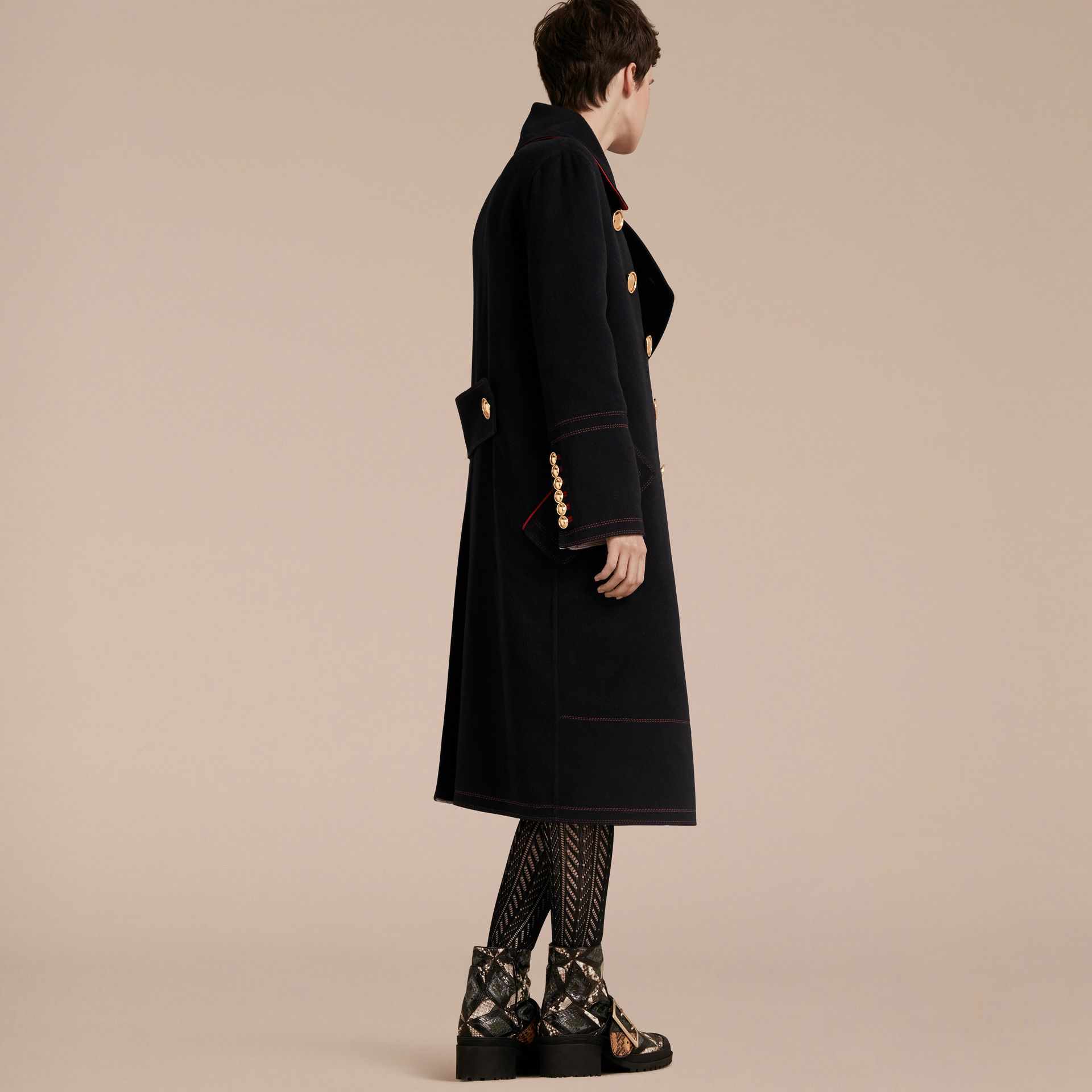 Black Double-breasted Wool Cashmere Military Coat - gallery image 3