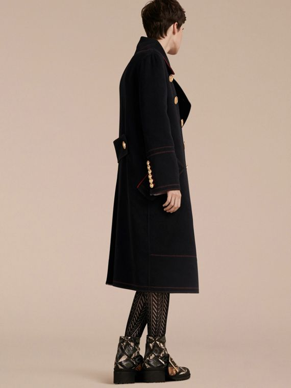 Black Double-breasted Wool Cashmere Military Coat - cell image 2