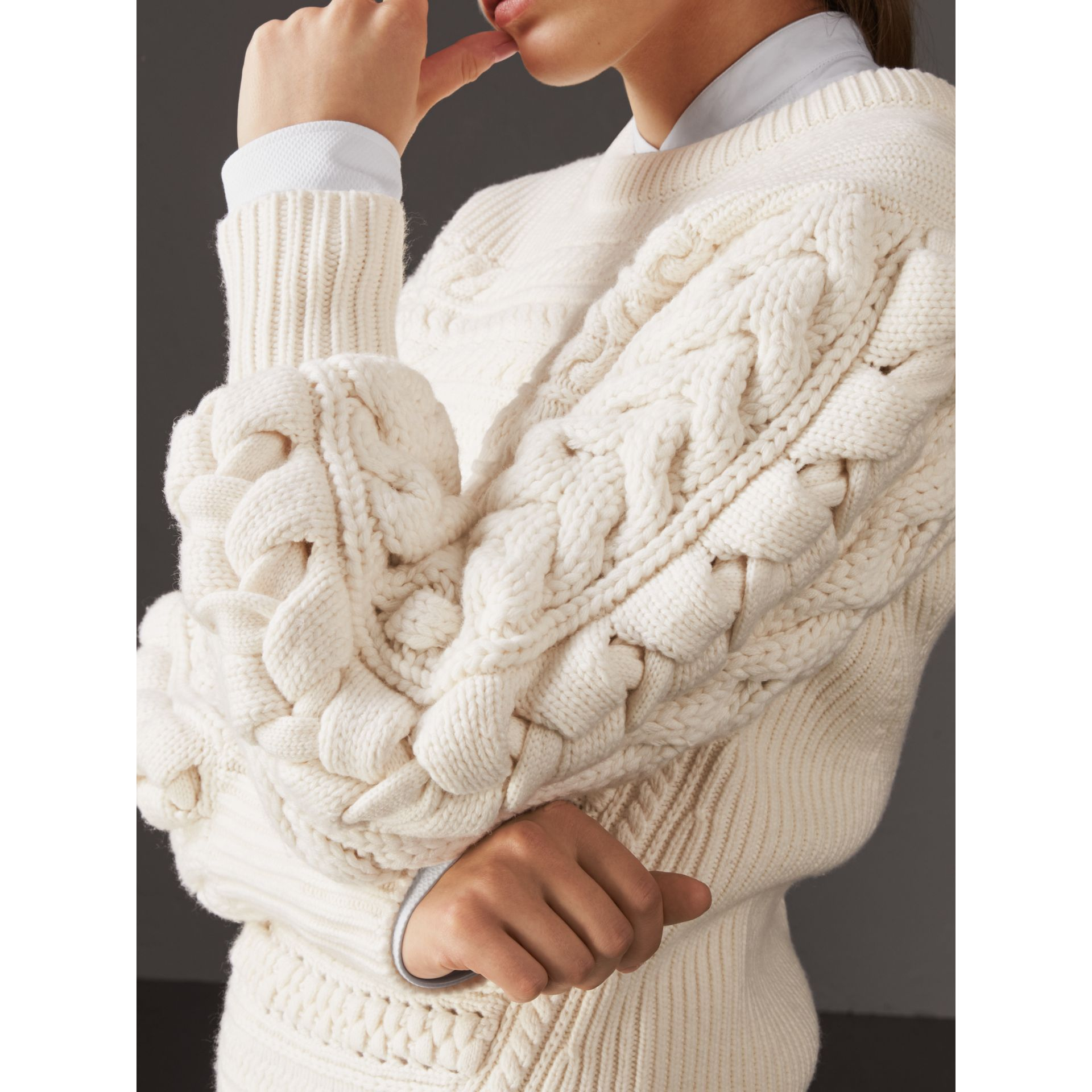 Cable Knit Wool Cashmere Sweater in Natural White - Women | Burberry Singapore - gallery image 2