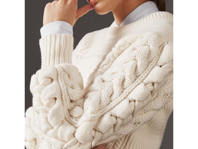 Cable Knit Wool Cashmere Sweater in Natural White - Women | Burberry Singapore - cell image 1
