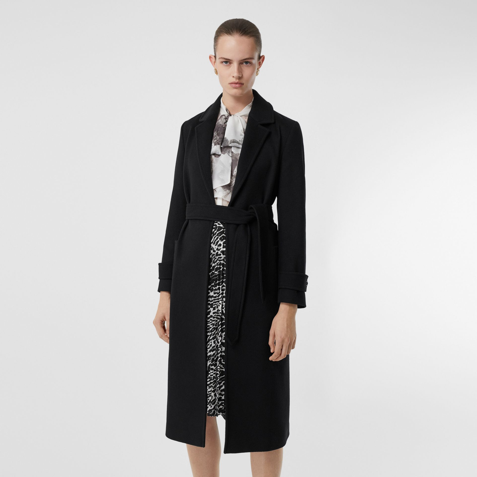 Cashmere Wrap Coat in Black - Women | Burberry - gallery image 6