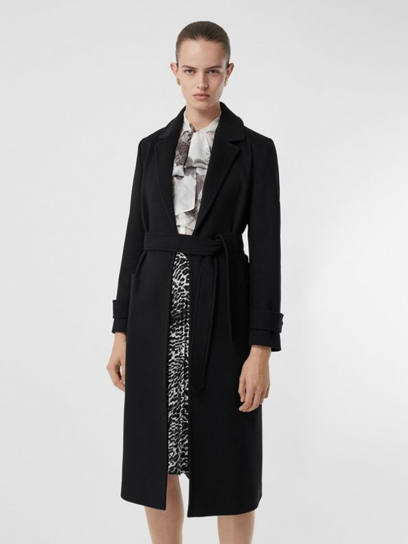 Cashmere Wrap Coat in Black