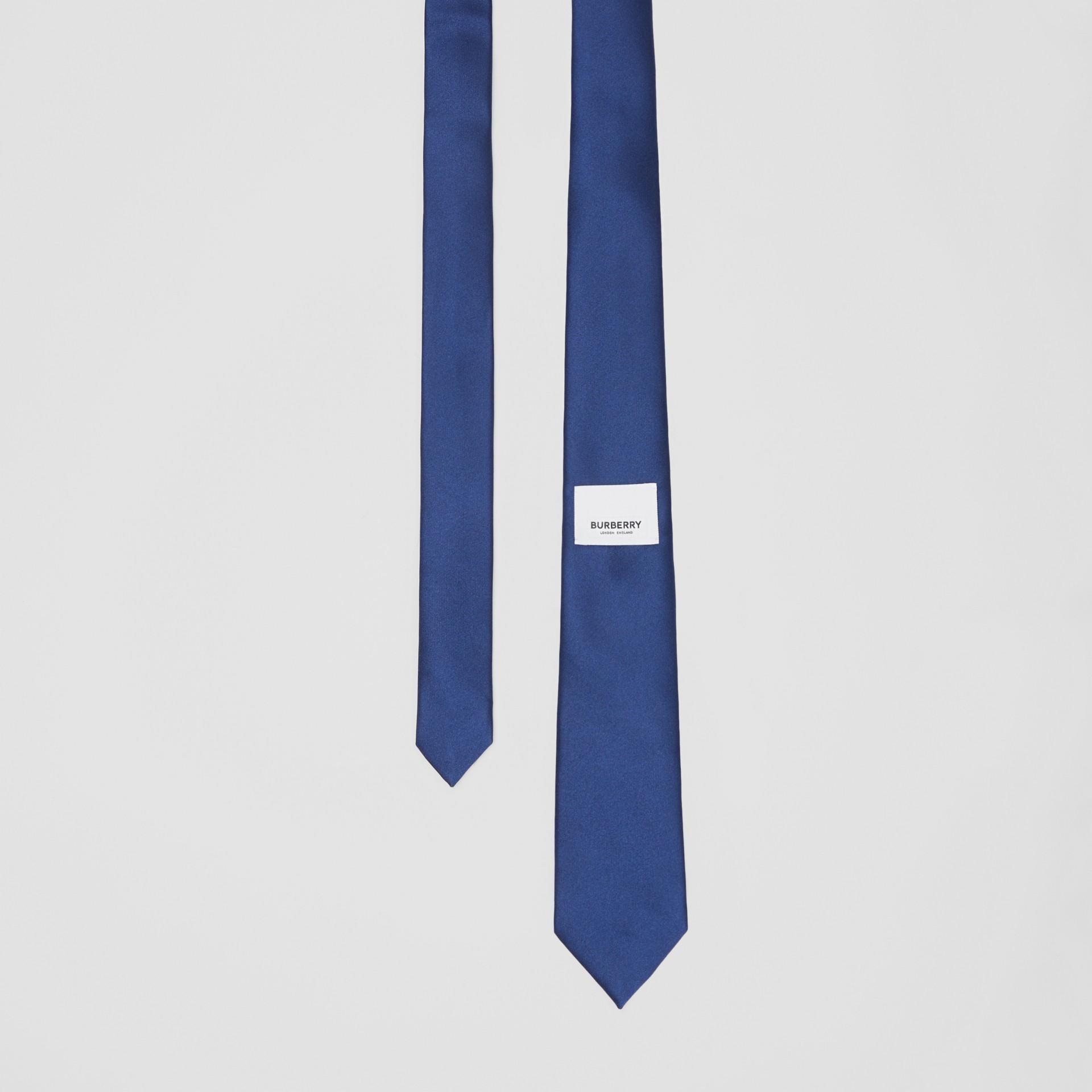 Classic Cut Logo Appliqué Silk Satin Tie in Sapphire Blue - Men | Burberry - gallery image 0