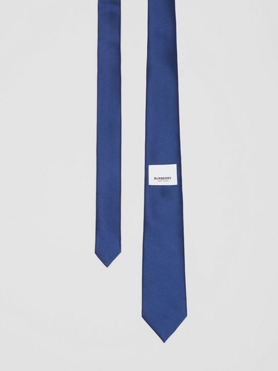 Classic Cut Logo Appliqué Silk Satin Tie in Sapphire Blue
