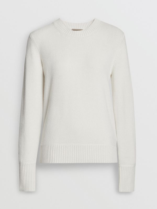 Archive Logo Appliqué Cashmere Sweater in White - Women | Burberry Australia - cell image 3