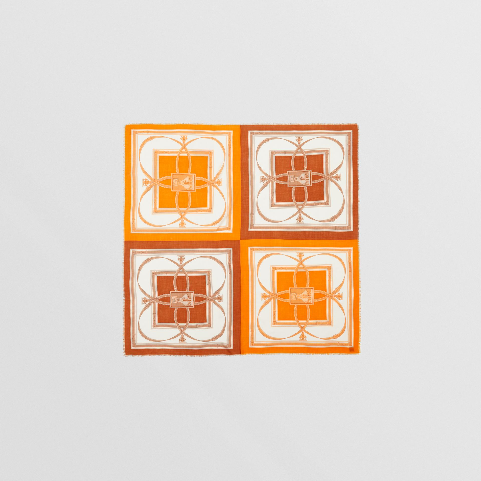 Archive Scarf Print Cashmere Large Square Scarf in Orange | Burberry United States - gallery image 0