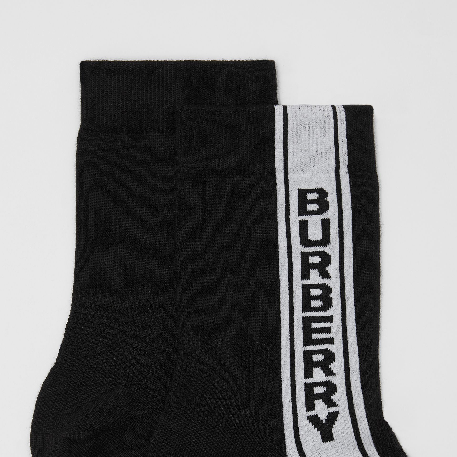 Logo Stripe Intarsia Cotton Blend Socks in Black | Burberry - gallery image 1