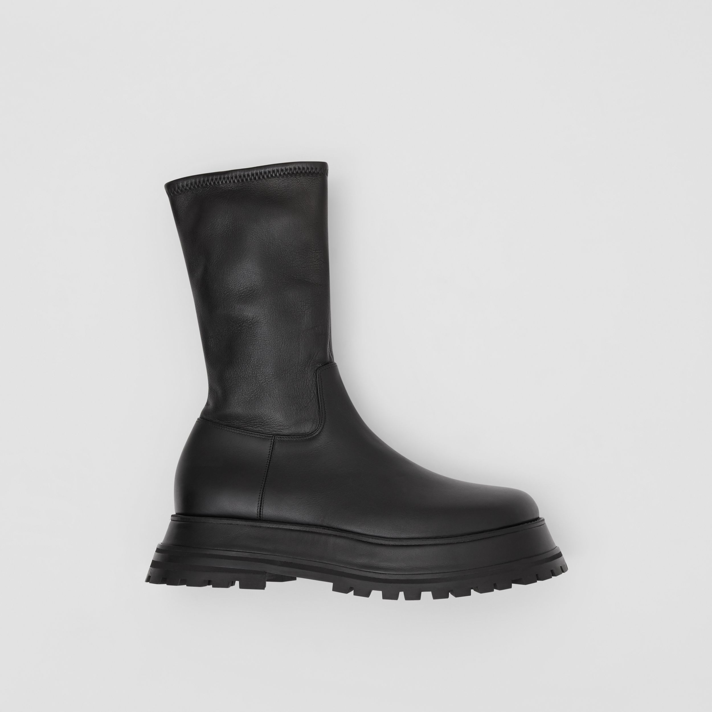 Leather and Lambskin Boots in Black - Women | Burberry - 1