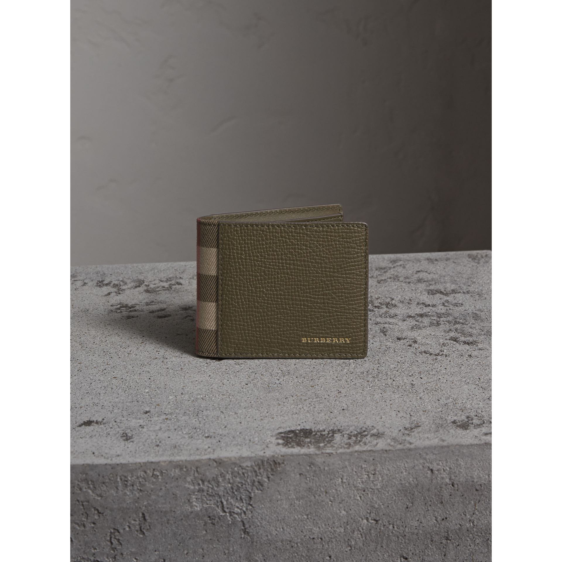Grainy Leather and House Check Bifold Wallet in Sage - Men | Burberry - gallery image 3