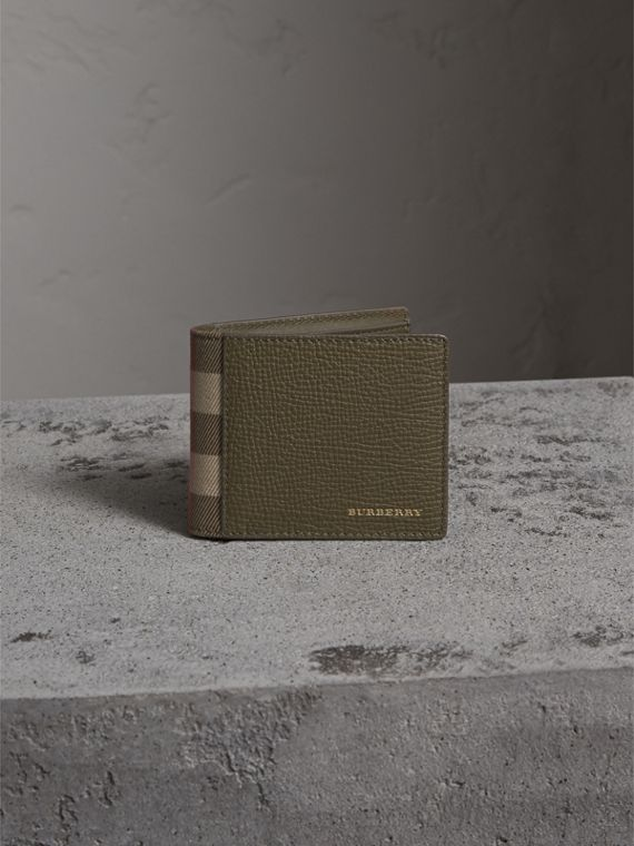 Grainy Leather and House Check Bifold Wallet in Sage - Men | Burberry - cell image 2