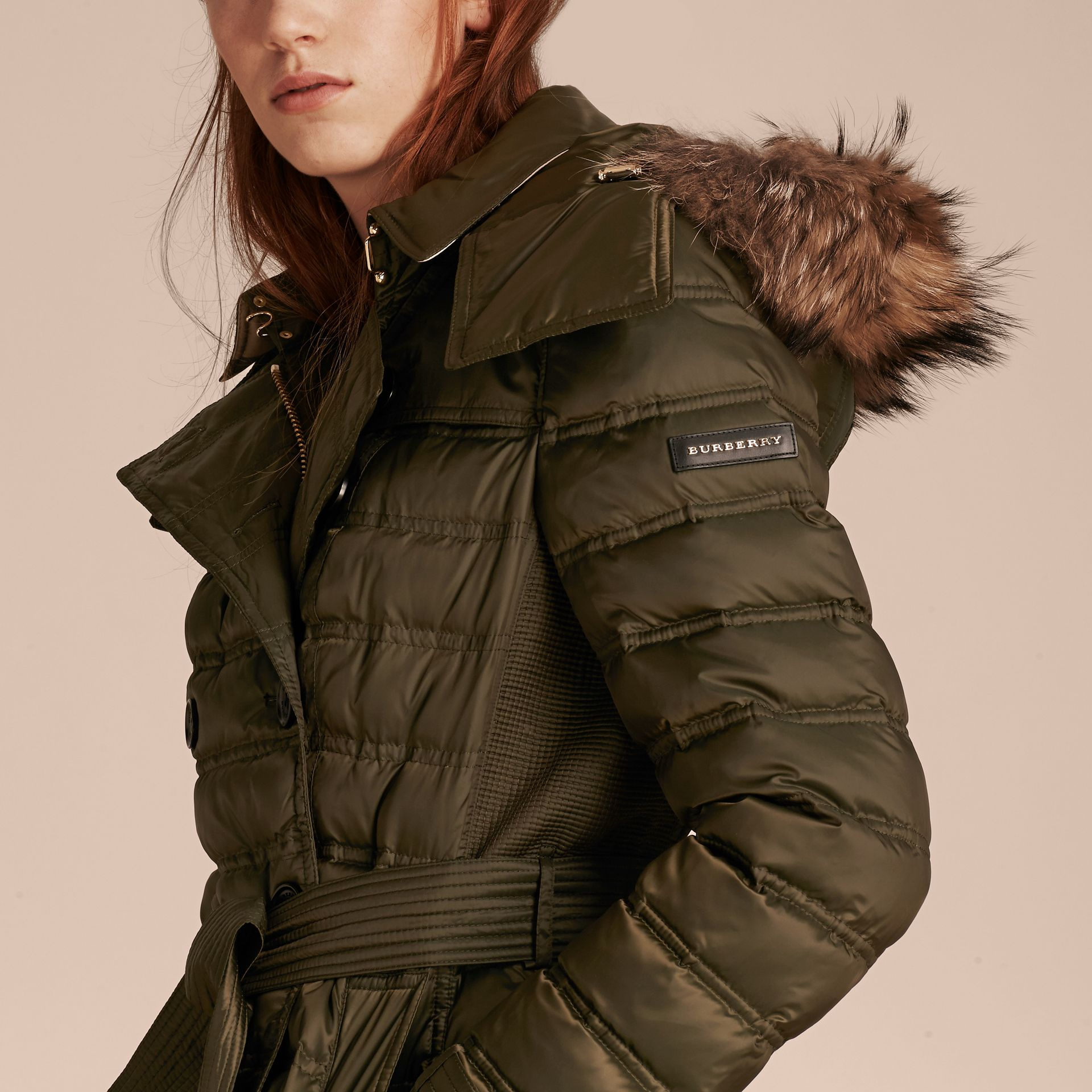 Dark olive Down-Filled Puffer Coat with Fur Trim Dark Olive - gallery image 5