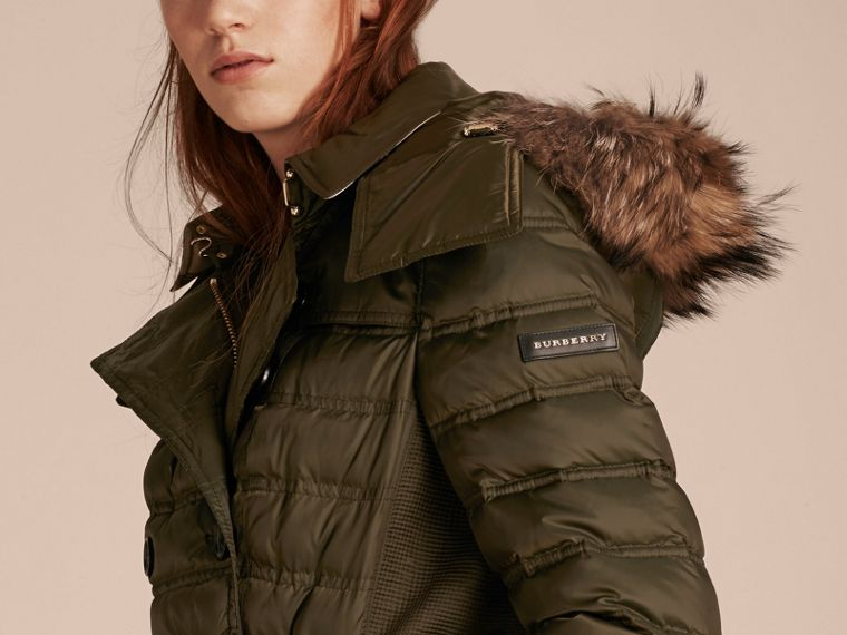 Dark olive Down-Filled Puffer Coat with Fur Trim Dark Olive - cell image 4