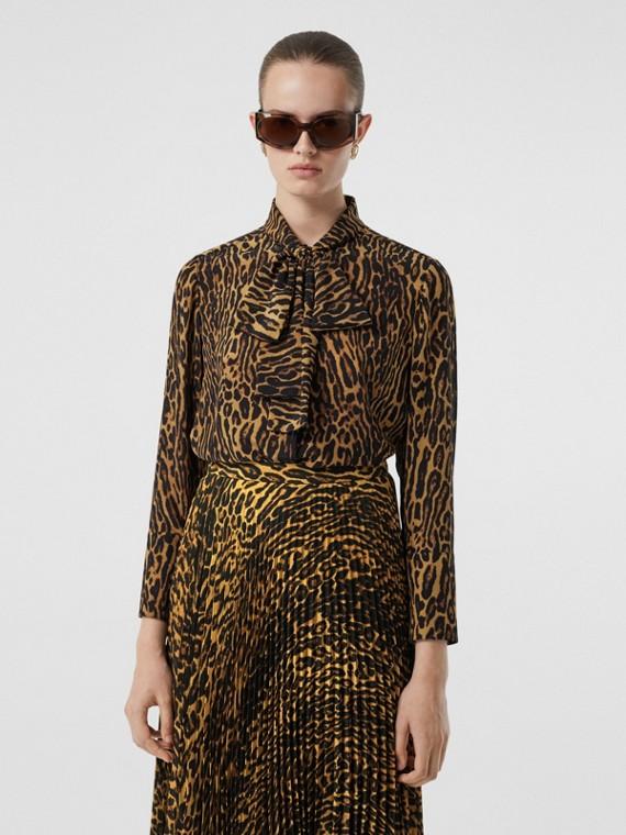 Leopard Print Silk Chiffon Pussy-bow Blouse in Dark Mustard
