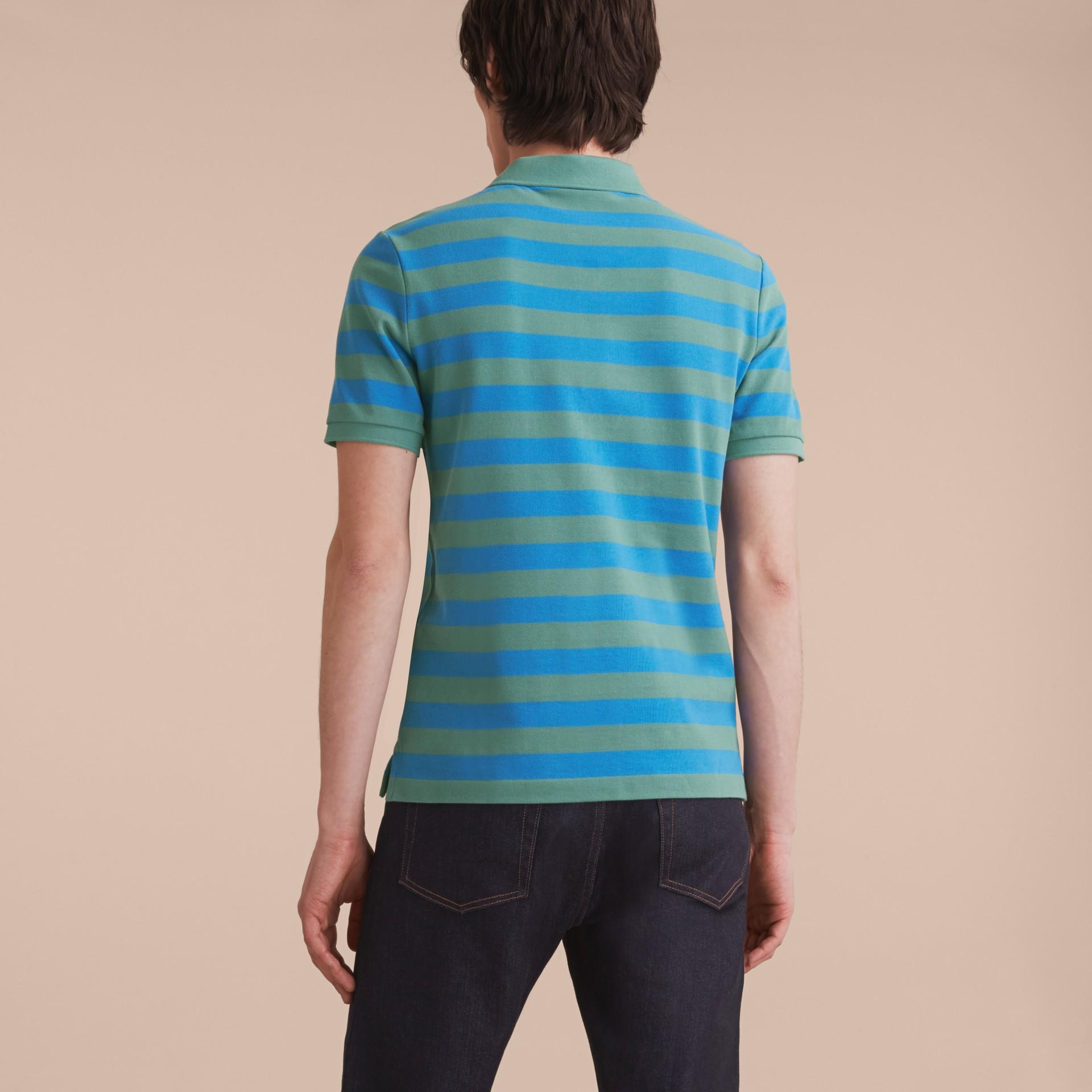 Striped Cotton Polo Shirt Eucalyptus Green/chalk Blue - gallery image 3