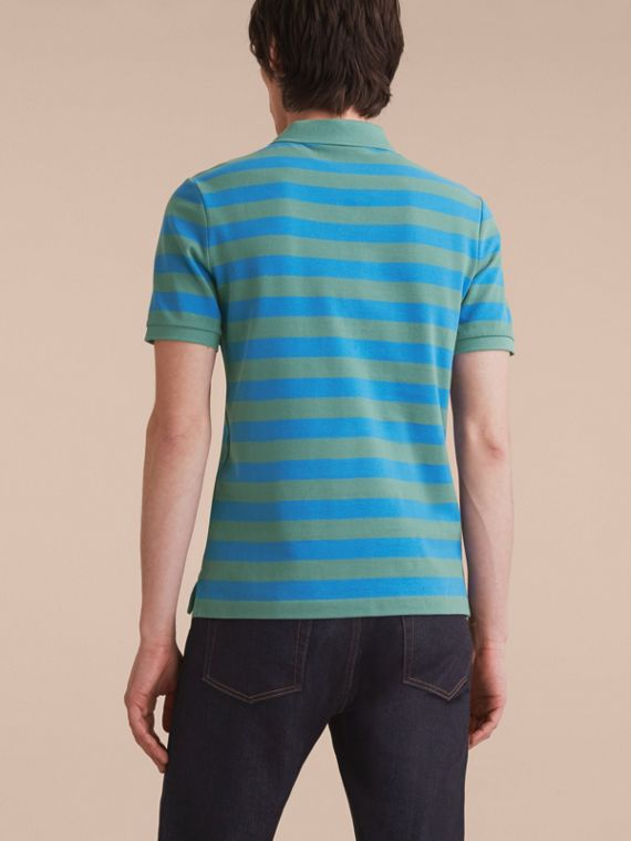 Striped Cotton Polo Shirt Eucalyptus Green/chalk Blue - cell image 2