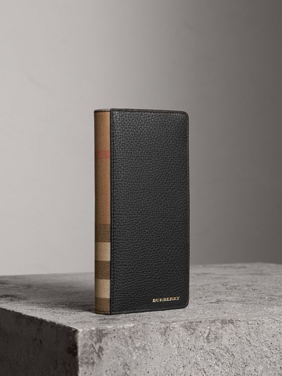 House Check and Grainy Leather Continental Wallet in Black