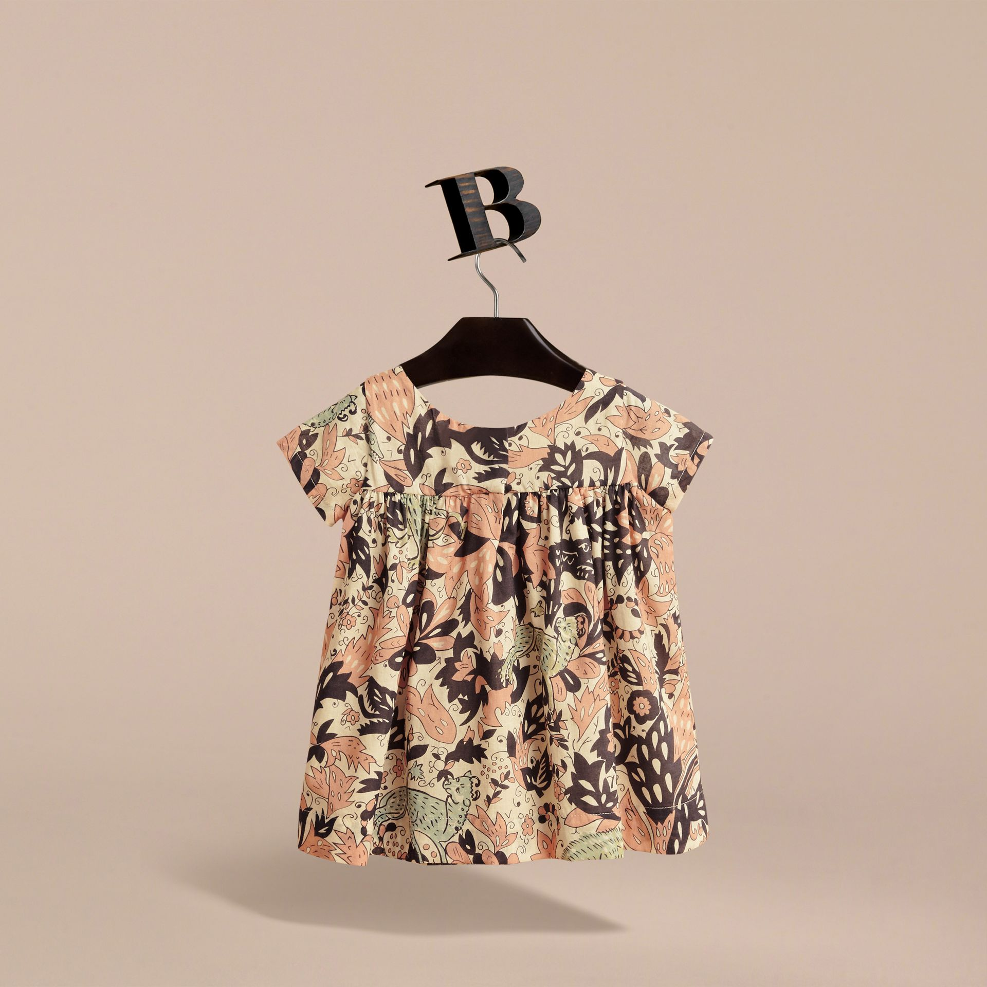 Beasts Print Cotton Smock Dress in Antique Taupe Pink | Burberry Canada - gallery image 4