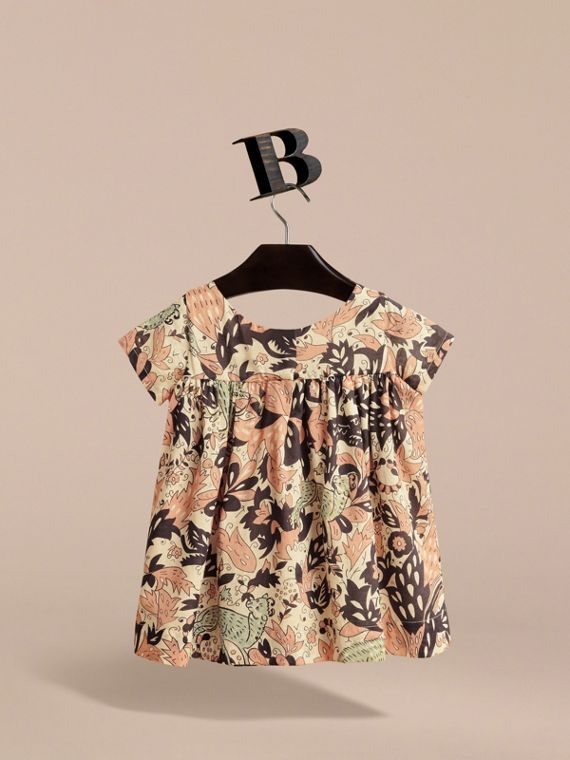 Beasts Print Cotton Smock Dress in Antique Taupe Pink | Burberry Canada - cell image 3