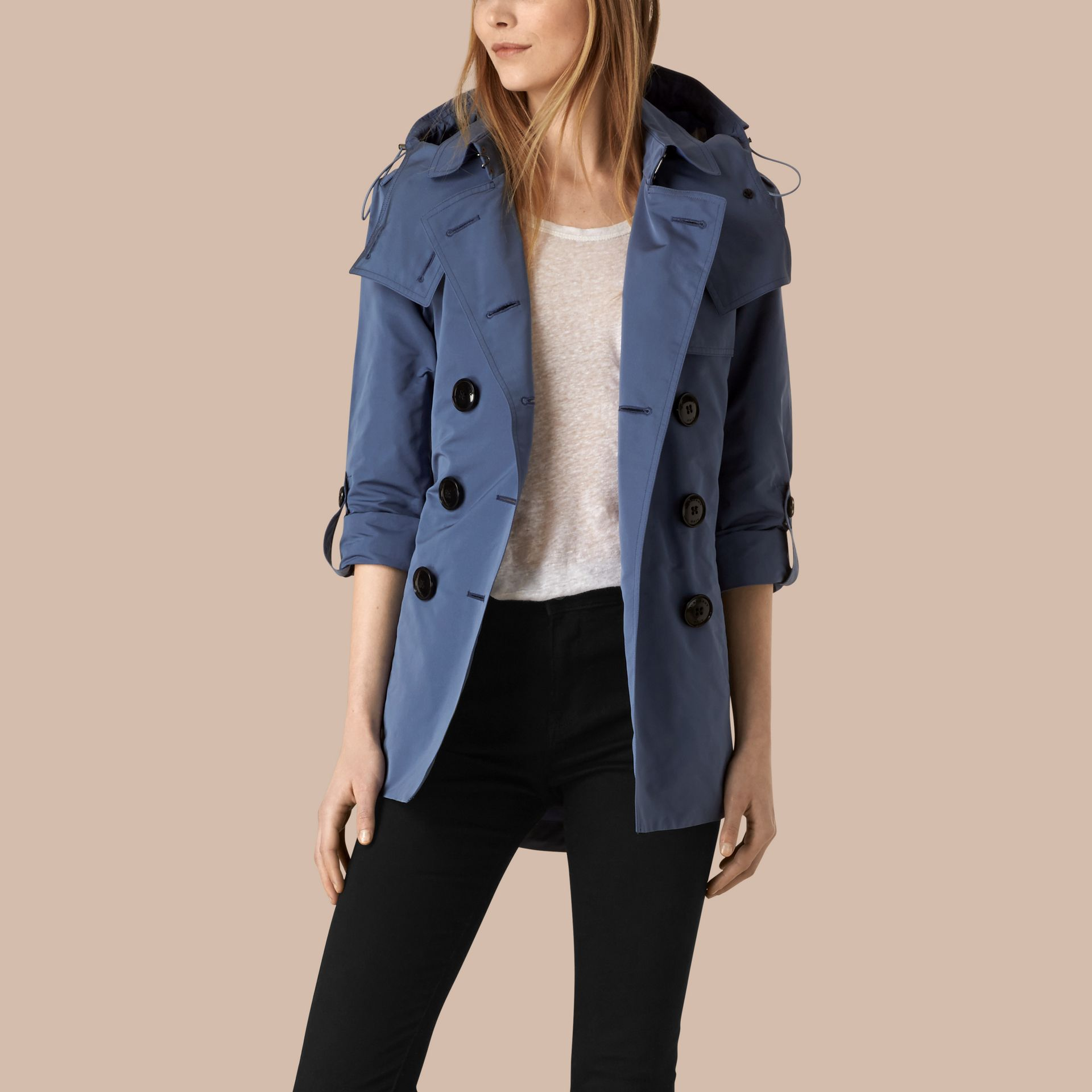 Pale lupin blue Showerproof Trench Coat with Detachable Hood Pale Lupin Blue - gallery image 1