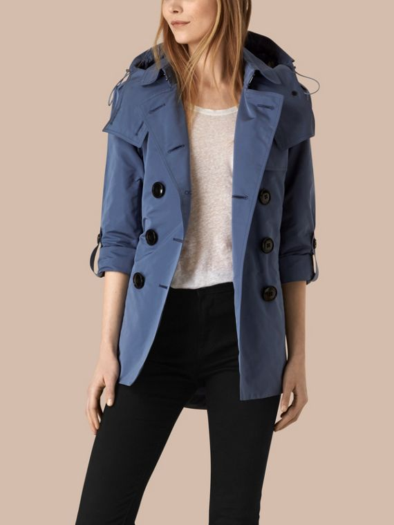 Showerproof Trench Coat with Detachable Hood Pale Lupin Blue