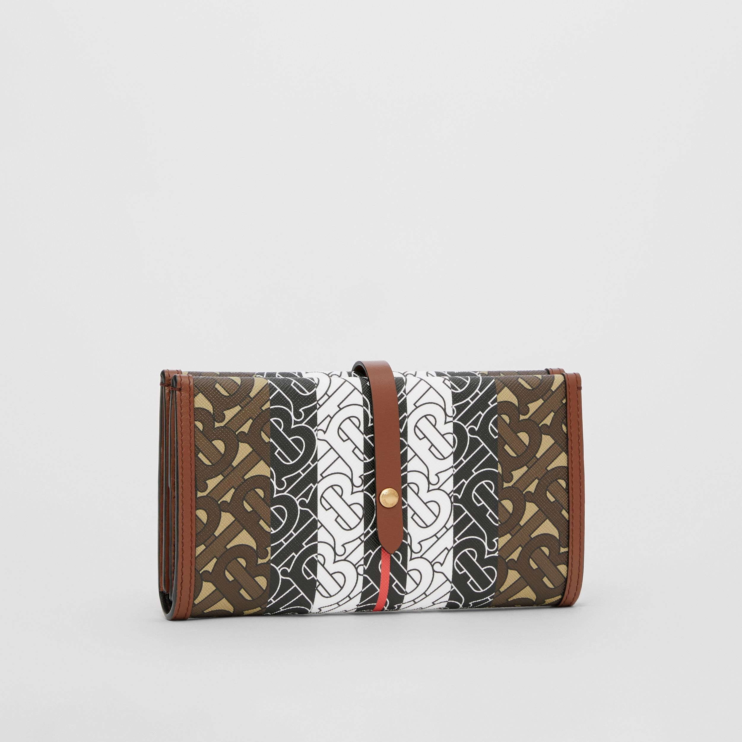 Monogram Stripe E-canvas Folding Wallet in Bridle Brown - Women | Burberry - 4