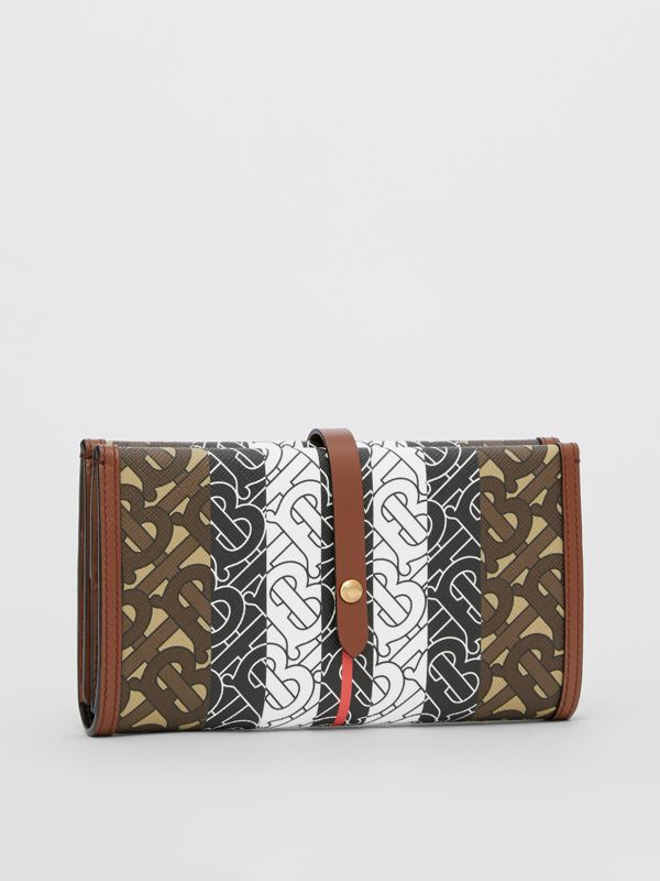 Monogram Stripe E-canvas Folding Wallet in Bridle Brown - Women | Burberry - cell image 3