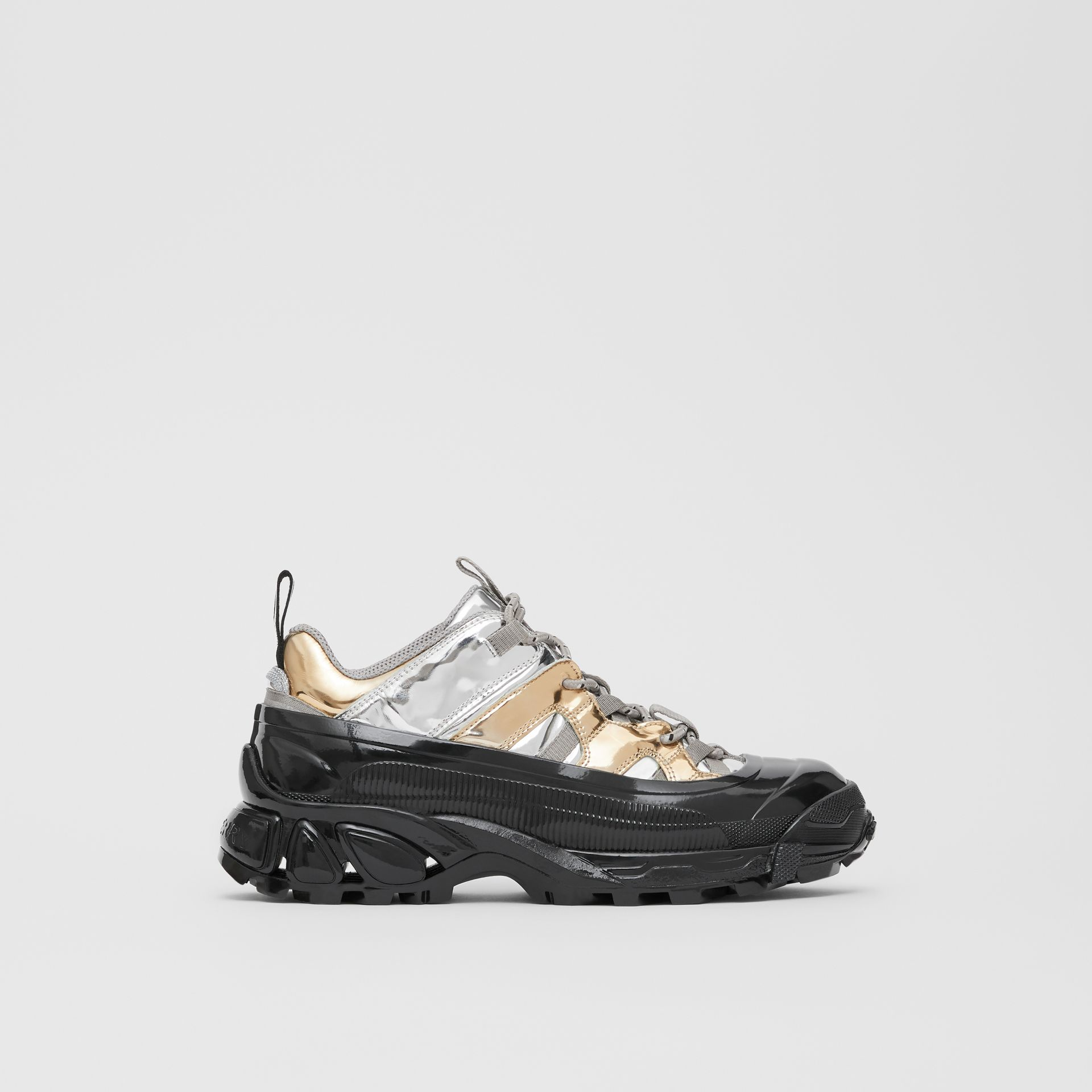 Two-tone Metallic Leather Arthur Sneakers in Silver/gold - Women | Burberry United Kingdom - gallery image 4