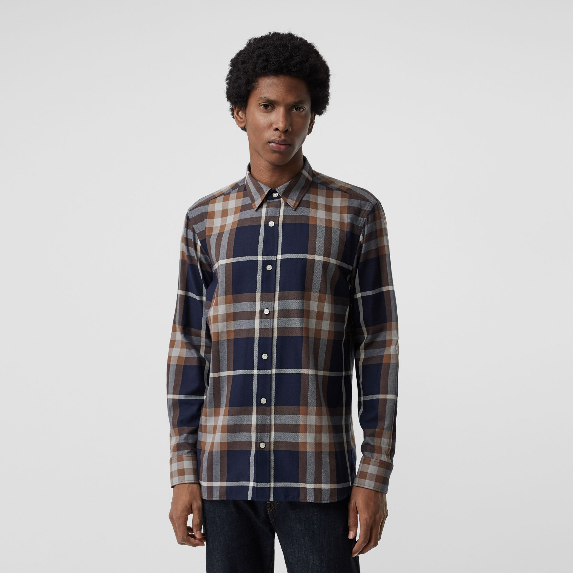 Check Cotton Flannel Shirt in Dark Navy - Men | Burberry - gallery image 0