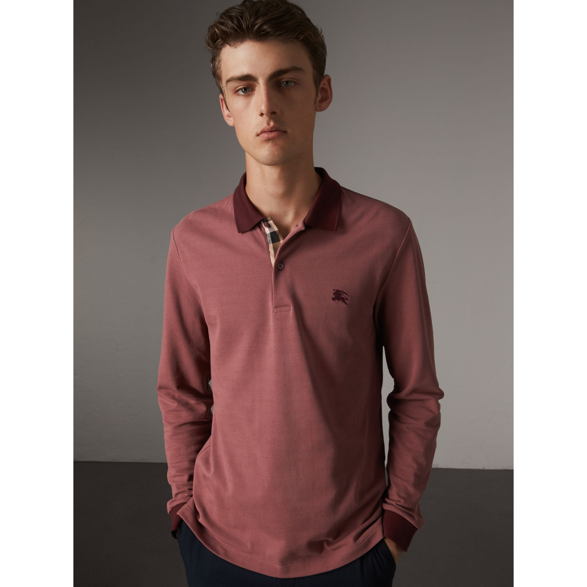 Long-sleeve Cotton Piqué Polo Shirt in Rosewood - Men | Burberry United Kingdom - gallery image 1