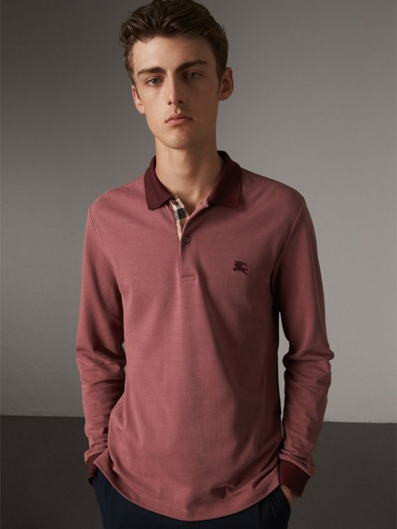 Long-sleeve Cotton Piqué Polo Shirt in Rosewood