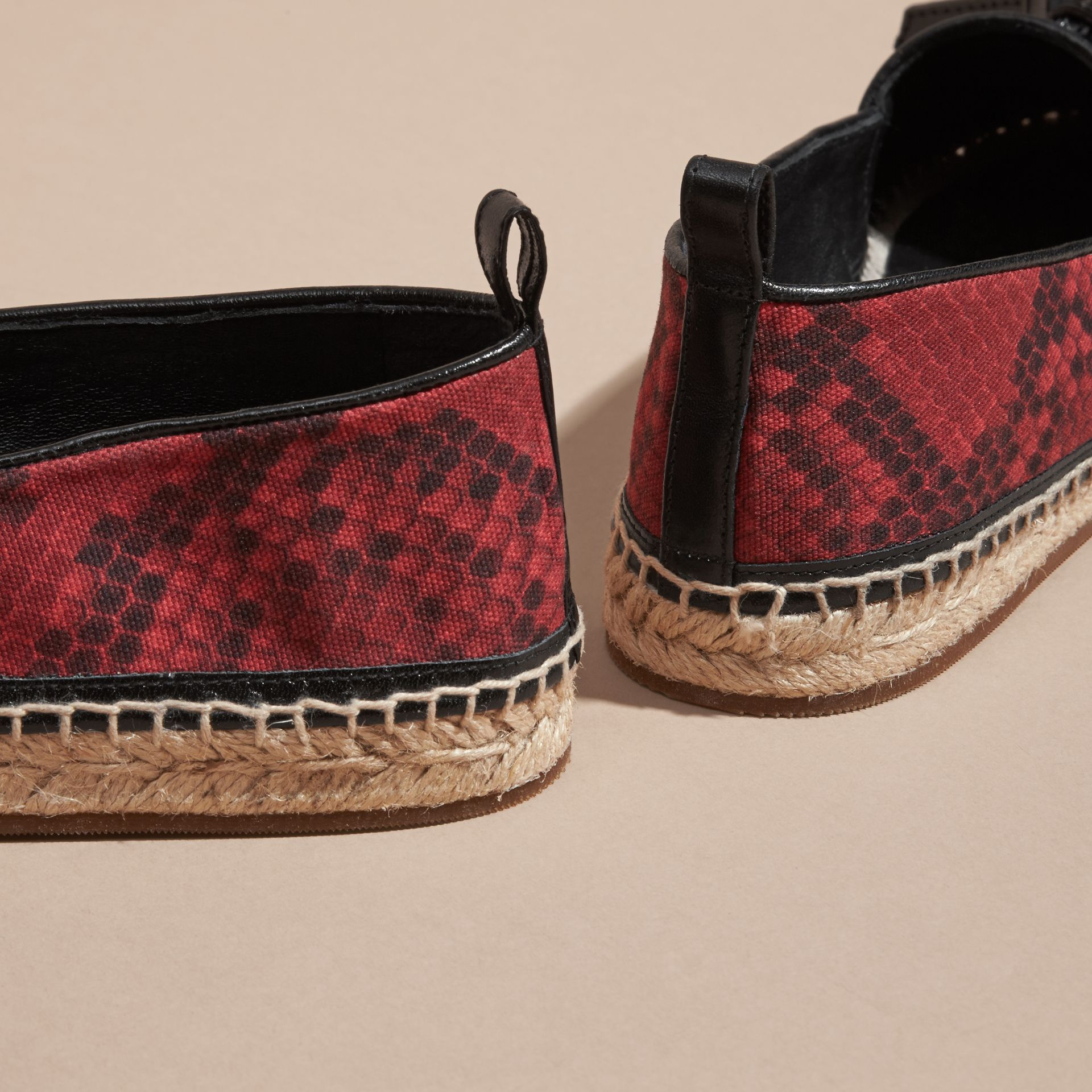 Windsor red Tasselled Python Print Cotton and Leather Espadrilles Windsor Red - gallery image 4