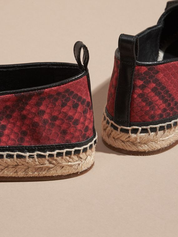 Windsor red Tasselled Python Print Cotton and Leather Espadrilles Windsor Red - cell image 3