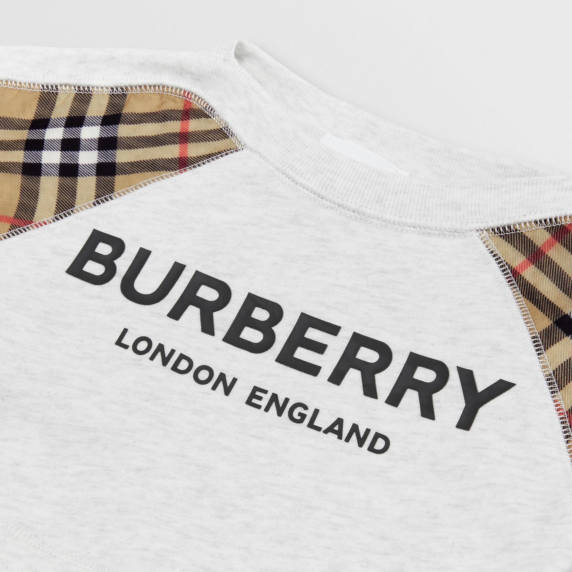 Vintage Check Detail Logo Print Cotton Sweatshirt in White Melange - Children | Burberry - gallery image 1