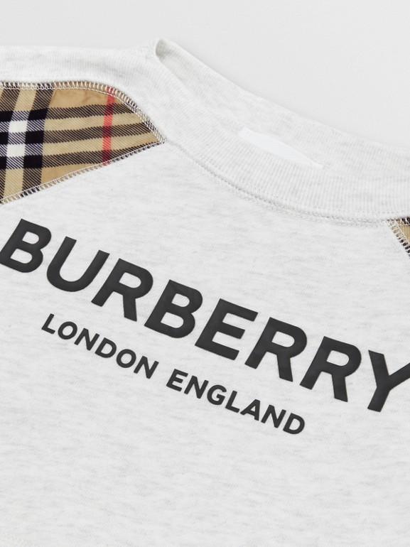 Vintage Check Detail Logo Print Cotton Sweatshirt in White Melange - Children | Burberry - cell image 1
