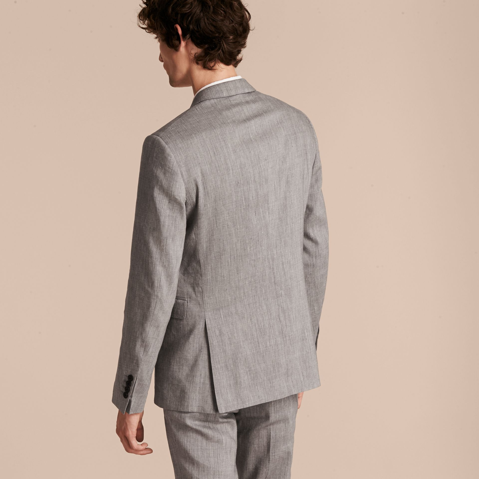 Slim Fit Travel Tailoring Linen Wool Blend Suit - Men | Burberry Singapore - gallery image 3