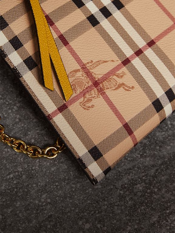 Haymarket Check and Two-tone Leather Clutch Bag in Dusty Pink/multicolour - Women | Burberry - cell image 1