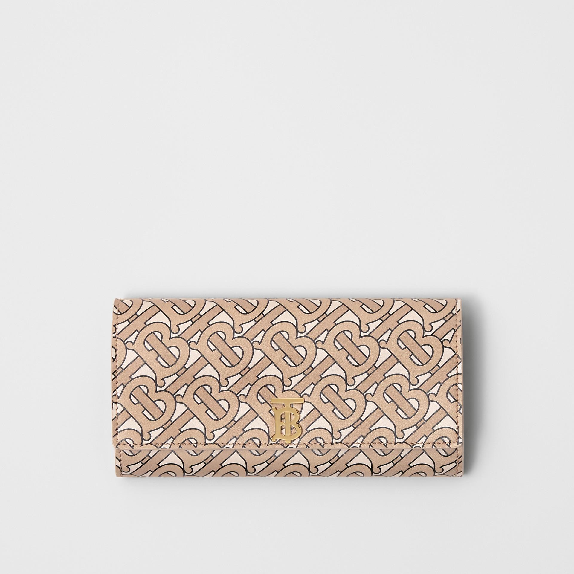 모노그램 프린트 가죽 장지갑 (베이지) - 여성 | Burberry - 갤러리 이미지 0
