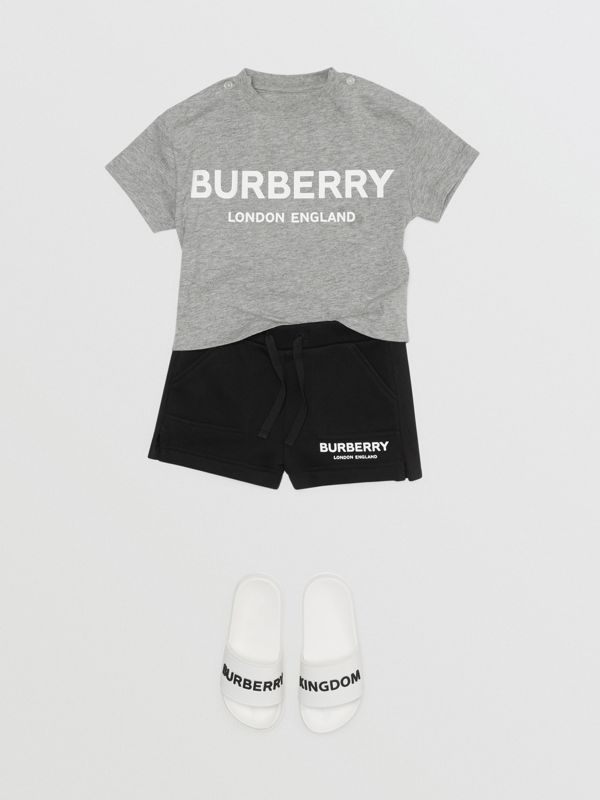 Logo Print Cotton T-shirt in Grey Melange - Children | Burberry Hong Kong - cell image 2