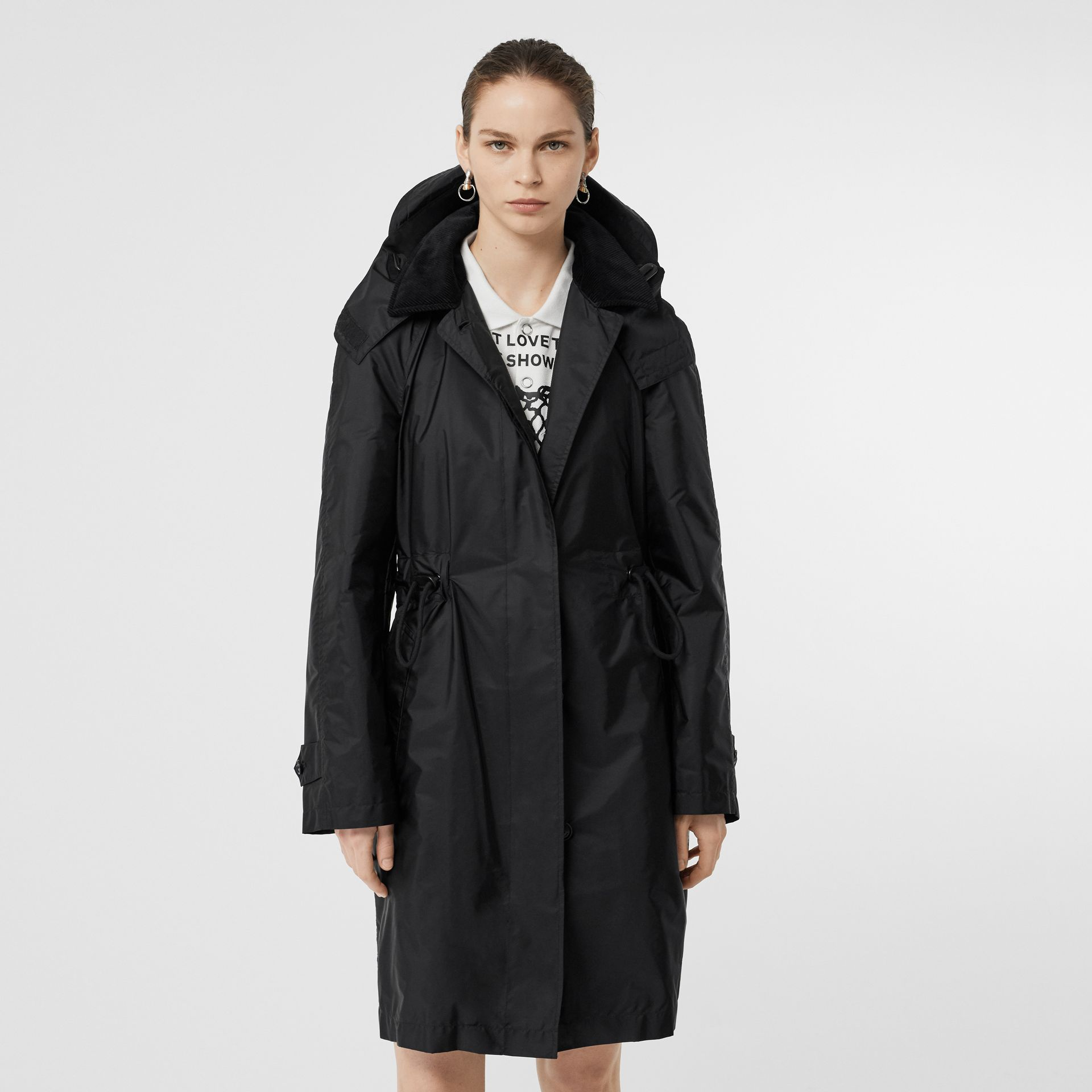 Detachable Hood Taffeta Parka in Black - Women | Burberry Australia - gallery image 7