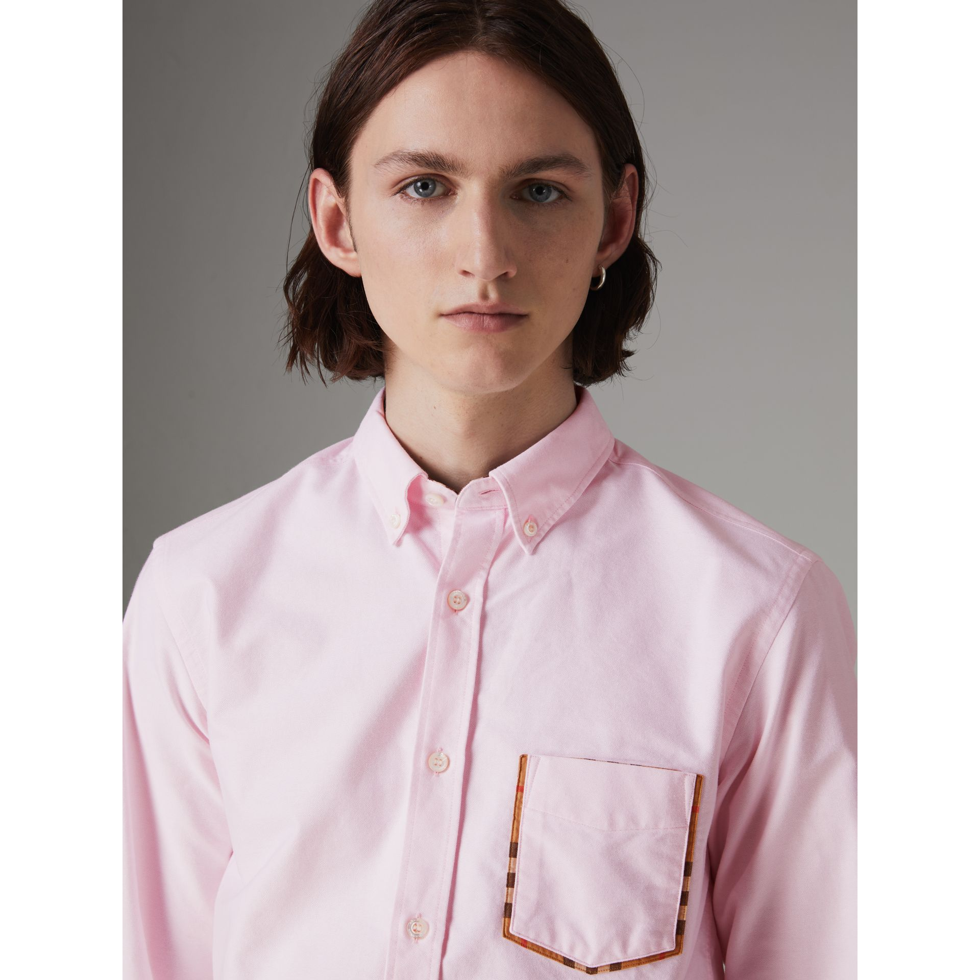 Check Detail Cotton Oxford Shirt in Pale Pink - Men | Burberry United Kingdom - gallery image 1